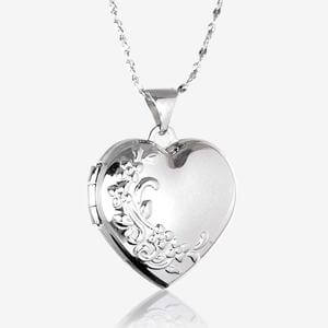 Angela Sterling Silver Heart Locket Necklace