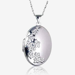 Bethan Sterling Silver Oval Locket Necklace