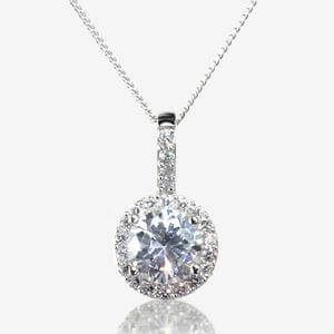 Diana Sterling Silver DiamonFlash<sup>&reg;</sup> Cubic Zirconia Round Necklace
