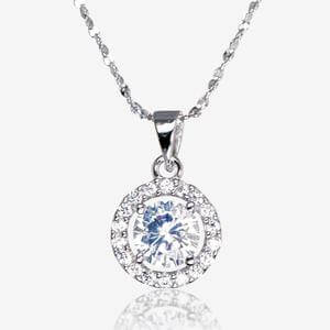 The Amelia Sterling Silver DiamonFlash<sup>&reg;</sup> Cubic Zirconia Necklace