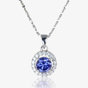 The Amelia Sterling Silver Tanzanite Coloured DiamonFlash<sup>&reg;</sup> Cubic Zirconia Necklace