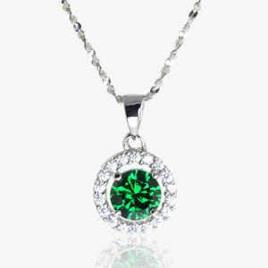 The Amelia Sterling Silver Emerald Coloured DiamonFlash<sup>&reg;</sup> Cubic Zirconia Necklace