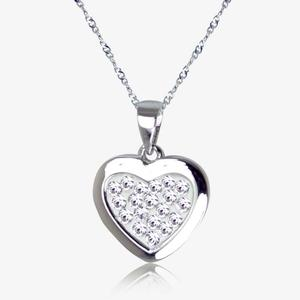 Tania Real Sterling Silver Heart Necklace Made With Swarovski<sup>&reg;</sup> Crystals