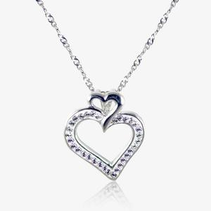 The Samantha Real Sterling Silver Heart Necklace Made With Swarovski<sup>&reg;</sup> Crystals