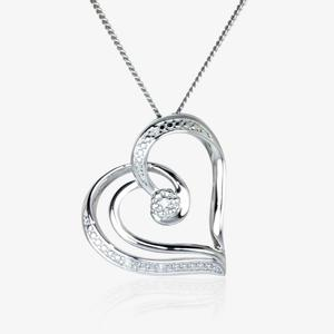 The Dahlia Real Sterling Silver Diamond Heart Necklace