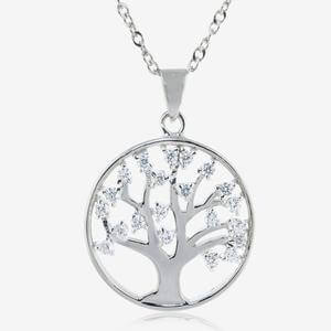 Sterling Silver Life's Tree DiamonFlash<sup>®</sup> Cubic Zirconia Necklace