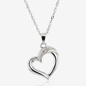 Nevada Sterling Silver Diamond Heart Necklace