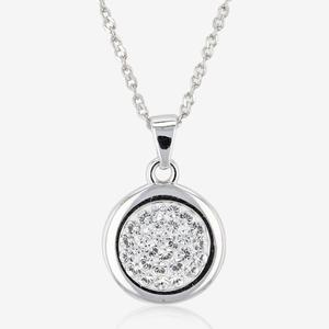 Stephanie Sterling Silver Disc Necklace Made With Swarovski® Crystals