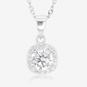 Sterling Silver DiamonFlash® Cluster Necklace