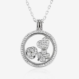 Sterling Silver Floating Locket Necklace & 3 Charms