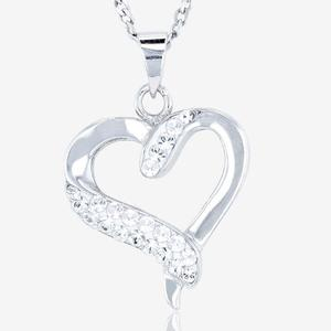 Sterling Silver Heart Necklace Made With Swarovski® Crystals