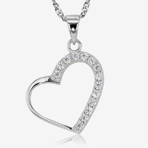 Natalia Sterling Silver DiamonFLash<sup>®</sup> Cubic Zirconia Heart Necklace