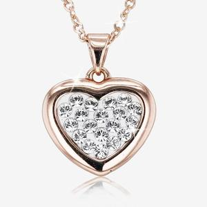 Tania Sterling Silver Rose Heart Necklace Made With Swarovski® Crystals