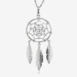 Silver CZ Dreamcatcher Necklace