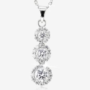 Silver Cubic Zirconia Halo Necklace
