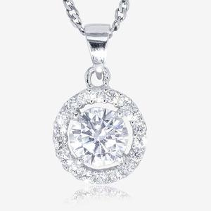 Silver CZ Halo Necklace