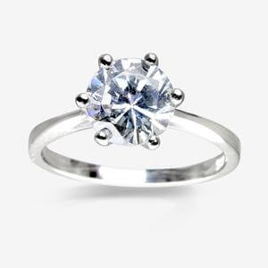 Kirsten Sterling Silver DiamonFlash<sup>&reg;</sup> Cubic Zirconia Solitaire Ring