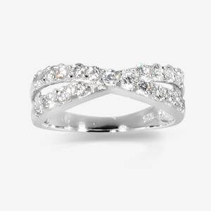 Rosie Sterling Silver DiamonFlash<sup>&reg;</sup> Cubic Zirconia Cross Over Ring