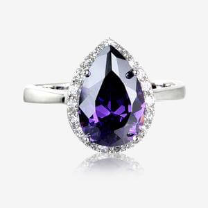Tara Real Sterling Silver Amethyst Coloured DiamonFlash<sup>&reg;</sup> Cubic Zirconia Pear Cluster Ring