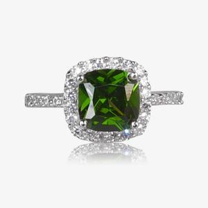Victoria Real Sterling Silver Emerald Coloured DiamonFlash<sup>&reg;</sup> Cubic Zirconia Cluster Ring