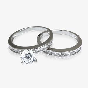 Kirstie Sterling Silver DiamonFlash<sup>®</sup> Cubic Zirconia Duet Ring Set