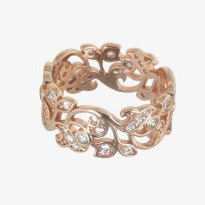 Carolina Rose Gold Finish Sterling Silver DiamonFlash<sup>&reg;</sup> Cubic Zirconia Ring