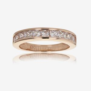 Sterling Silver Princess DiamonFlash® Cubic Zirconia Rose Gold Eternity Ring