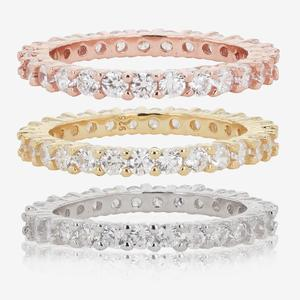 Sterling Silver DiamonFlash® Cubic Zirconia Set Of 3 Stacking Rings
