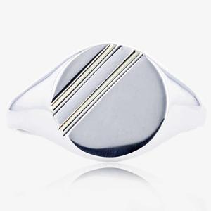 Sterling Silver & 9ct Gold Men's Signet Ring