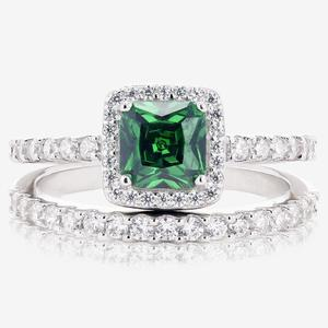 Tara Sterling Silver Emerald Coloured 2 Ring Duet Set