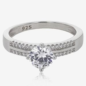 Sterling Silver DiamonFlash<sup>&reg;</sup> Cubic Zirconia Solitaire Ring