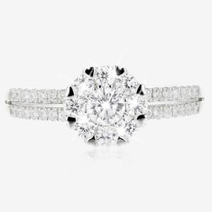 Sterling Silver DiamonFlash® Cubic Zirconia Cluster ring