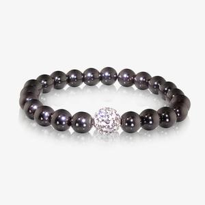 Lacey Haematite and Crystal Hand Set Bracelet