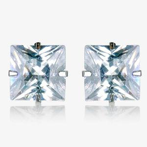 Treviso 9ct White Gold Princess Cut DiamonFlash<sup>®</sup> Cubic Zirconia Stud Earrings