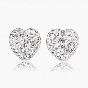 Lauren 9ct Gold Crystal Heart Stud Earrings