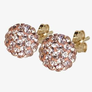 Sabine 9ct Gold Champagne Crystal Stud Earrings