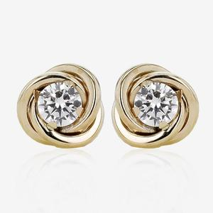 9ct Gold DiamonFlash® Cubic Zirconia Knot Stud Earrings