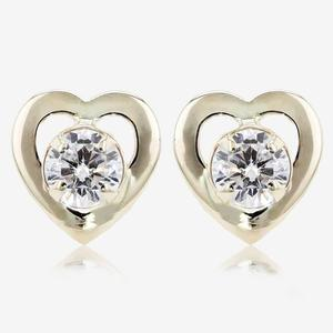 9ct Gold DiamonFlash<sup>®</sup> Heart Stud Earrings