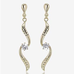 9ct Gold Swirl Drop Earrings