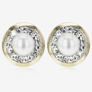 9ct Gold Cultured Freshwater Pearl And Crystal Stud Earrings