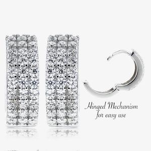 Pavia Sterling Silver DiamonFlash<sup>&reg;</sup> Cubic Zirconia Huggie Earrings