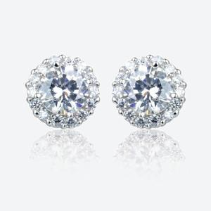 Diana Sterling Silver DiamonFlash<sup>&reg;</sup> Cubic Zirconia Cluster Stud Earrings