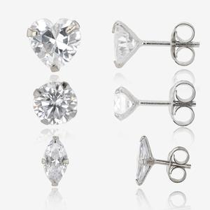 The Rhea Sterling Silver Set of 3 DiamonFlash<sup>&reg;</sup> Cubic Zirconia Earrings