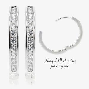 The Tania Sterling Silver DiamonFlash<sup>&reg;</sup> Cubic Zirconia Huggie Earrings
