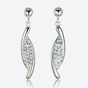 Lydia Real Sterling Silver Crystal Earrings