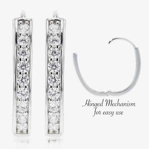 Alana Sterling Silver DiamonFlash<sup>&reg;</sup> Cubic Zirconia Oval Huggie Earrings
