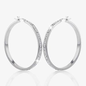 Agata Sterling Silver Crystal Creole Earrings
