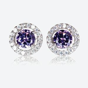 The Amelia Sterling Silver DiamonFlash<sup>&reg;</sup> Cubic Zirconia Stud Earrings