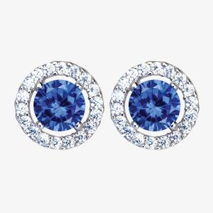 The Amelia Sterling Silver Tanzanite Coloured DiamonFlash<sup>&reg;</sup> Cubic Zirconia Stud Earrings