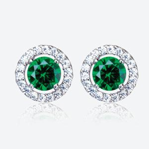 The Amelia Sterling Silver Emerald Coloured DiamonFlash<sup>&reg;</sup> Cubic Zirconia Stud Earrings